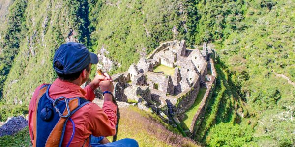Arriving to Machu Picchu after the 4-day Inca Trail hike