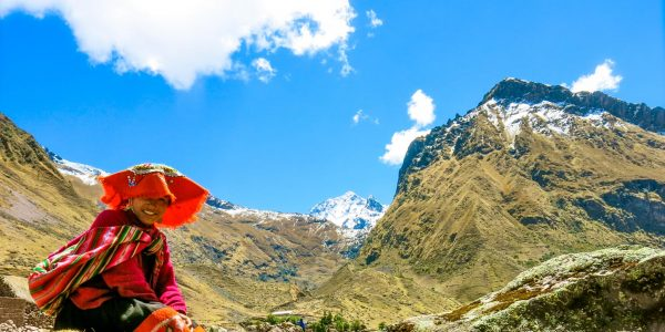 A llama herder in the Sacred Valley of the Incas
