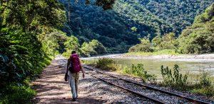 Hiking to Machu Picchu along the railroad tracks