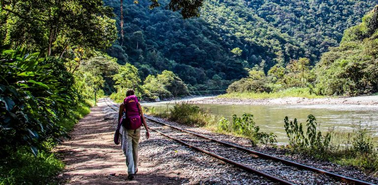 Hiking to Machu Picchu along the railroad tracks