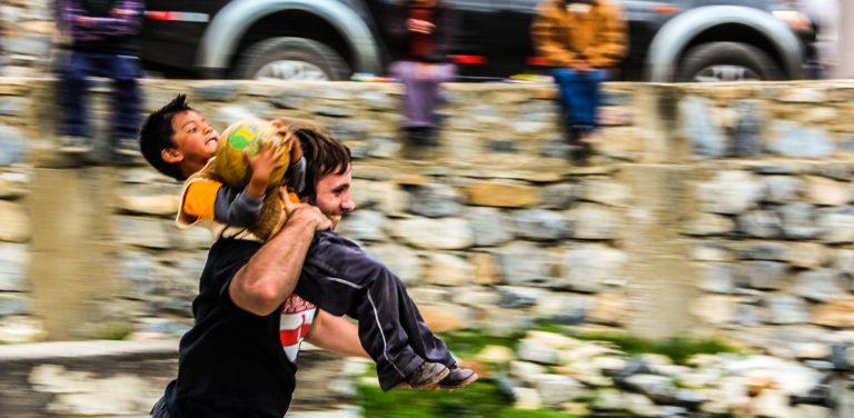 Running in Huancaya's plaza