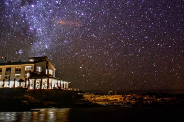 The Titilaka lodge below the starry night of Puno