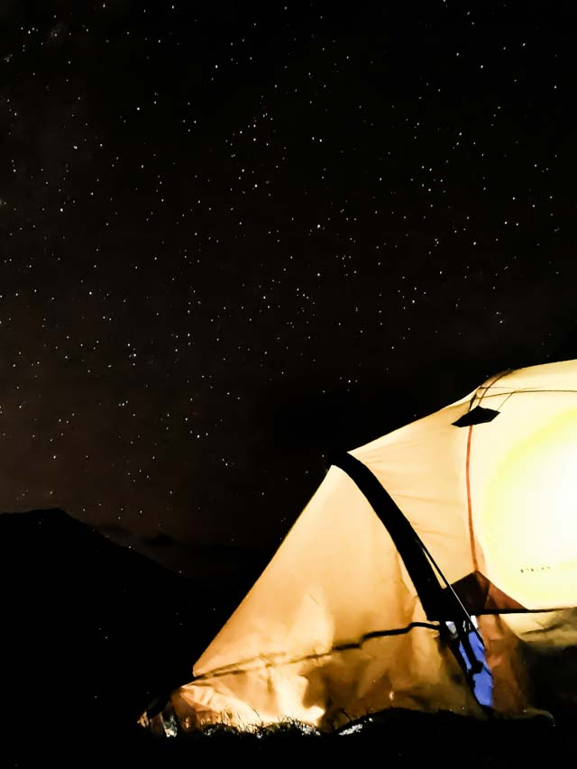 Choquequirao camping site below the starry night of Cusco
