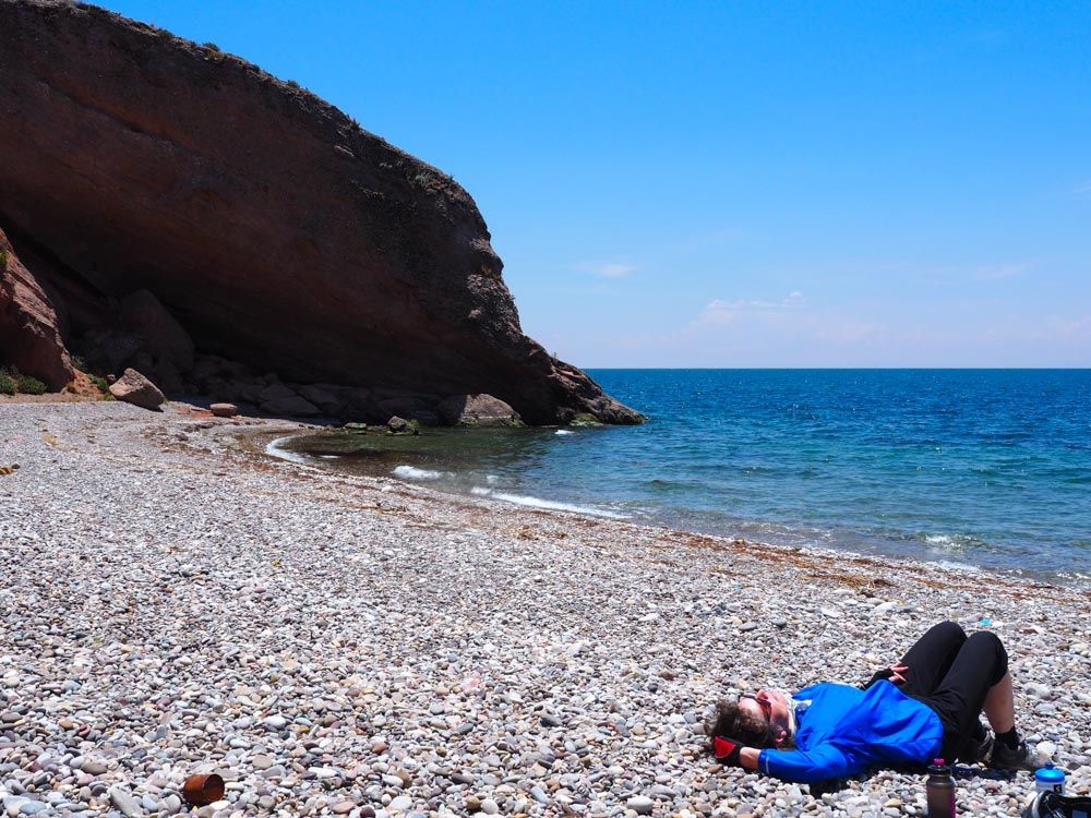 Relaxing at the shores of the Lake Titicaca