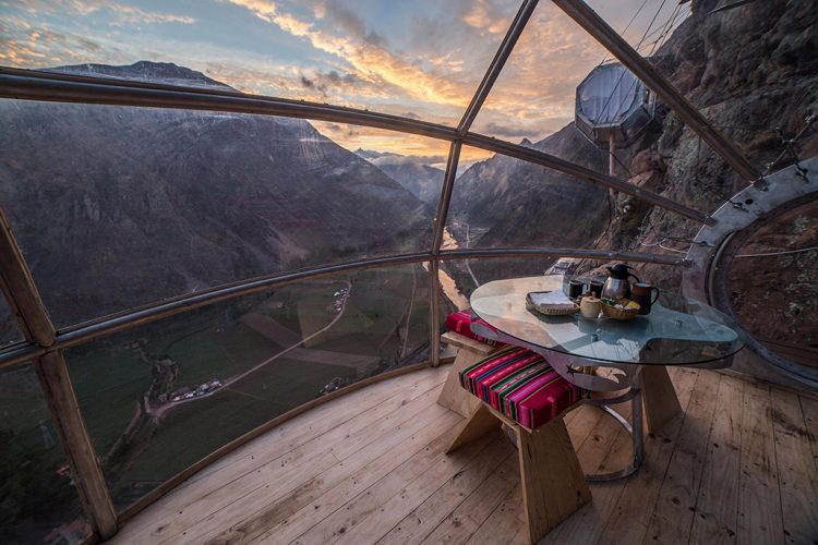 Dining room at the Skylodge in the Sacred Valley of the Incas