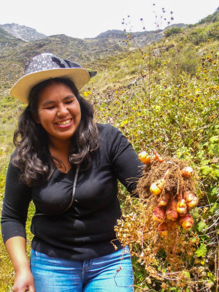 Clara Meza working the fields in Laraos